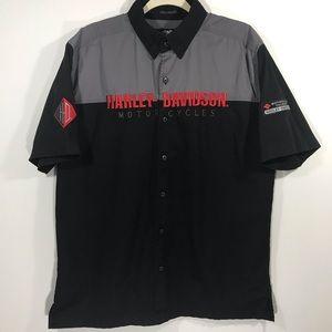 Harley Davidson Black Gray Logo Button Up Mens L